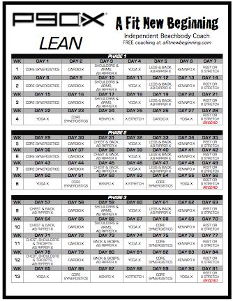 P90x Lean Routine Schedule This P90X Lean Workout Routine can be - blank workout sheet