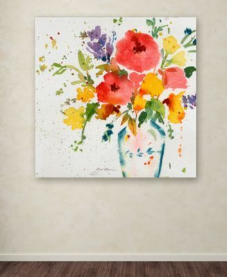 Sheila Golden White Vase With Bright Flowers 24 X 24 Canvas Art