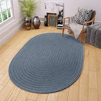 Super Area Rugs Maui Braided Rug Indoor Outdoor Rug Washable Reversible Blue Patio Porch Kitchen Carpet 8 X 11 Ov Indoor Outdoor Rugs Outdoor Rugs Area Rugs