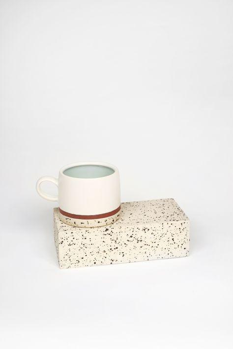 """Samantha Knopp. Brick Clay Brick and Mug - Cone 6 Oxidation with mixed clays (Brick 7""""x3.3"""" & Mug 3""""x3.5"""") . $100"""
