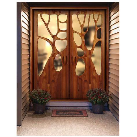 These French doors truly are as lovely as the tree forms whose silhouette they depict. The fine grain and the subtle sheen of the strips of beautiful wood, the artistry and craftsmanship of the sculptor -- all serve to capture the poetry of trees. Custom door is $190/per sq. ft.