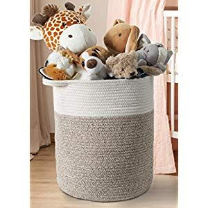 Indigobea Cotton Rope Storage Basket 17 H X 15 D Extra Large Tall Laundry Clothes Hamper With Handles Decorative Woven Basket Designed For Kids Toys Blanke In 2020 Storage Baskets Large Storage
