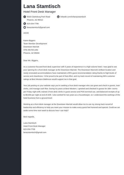 hospitality cover letter example template concept