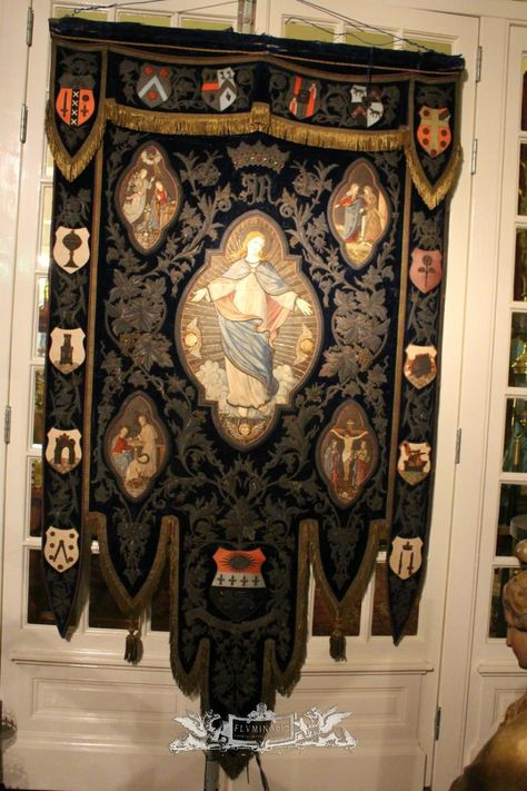 1  Tapestry Fully Hand Embroidered / Blue Velvet / Brocate - Used Vestments & Tapestry - Fluminalis
