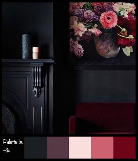 Palette in midnight and roses.