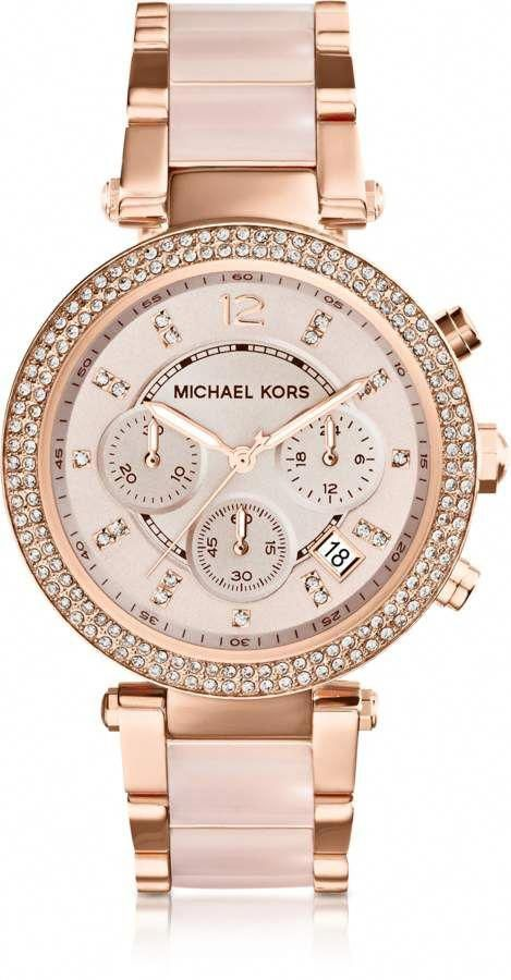 Michael Kors Women's Chronograph Parker Blush and Rose Gold-Tone Stainless Steel Bracelet Watch
