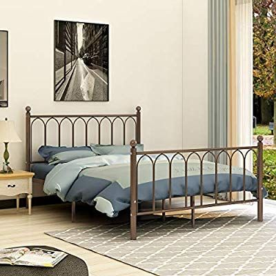 Amazon Com Aufank Metal Bed Frame Queen Size No Box Spring Needed