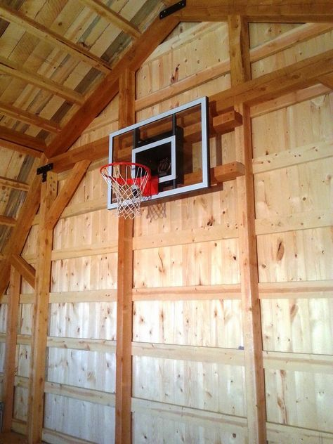 This Gambrel Barn Complete With A Basketball Hoop In The Loft Has A Great Interior With Some Unique Opportunities For Gambrel Gambrel Barn Basketball Hoop
