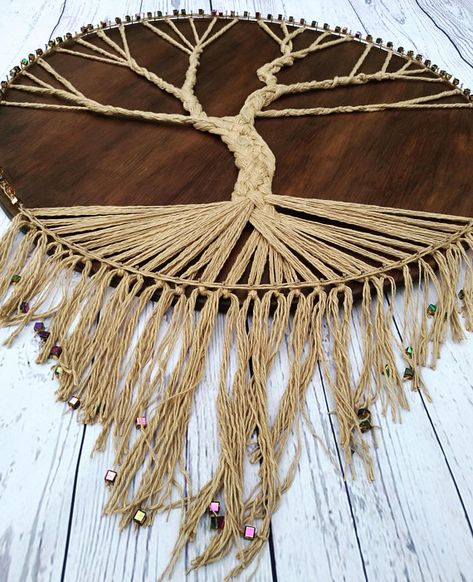 Tree of life String Art Large Oversized  Wooden Gallery Wall Decor Family Tree Art Rustic Wooden Mot