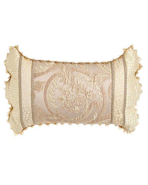 "Matelasse/Leopard Pillow w/ Beaded Scalloped Ends, 25"" x 13"""