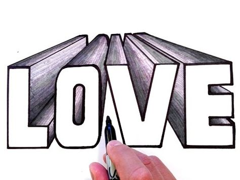 How to Draw LOVE in 3D One Point Perspective - YouTube