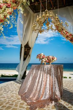 Sequins Flowers And Chandeliers Make The Gazebo Look Amazing For Your Destination Wedding At Dreams Riviera Cancun Resort Spa