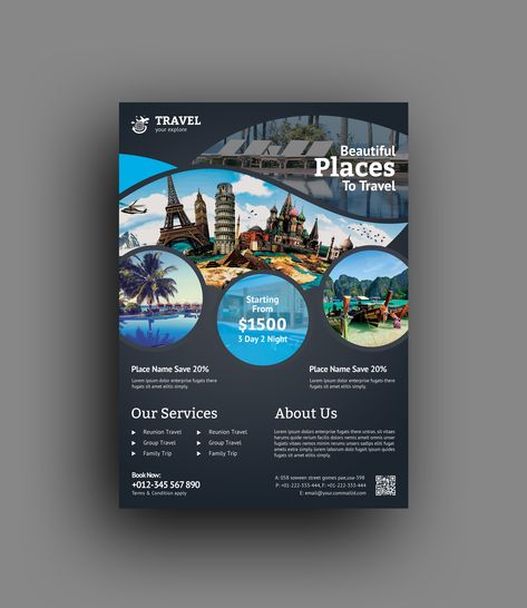 Travel Agency Flyer Template - Vibrant Graphics | Graphic Templates Store