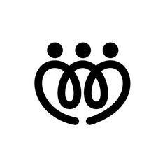 Familia De Cuatro Símbolos Abstractos Personas Iconos Mediante