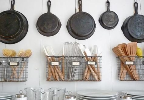 kitchen organization for my SMALL space!..and this gave me a great idea!...look for BIG hanging baskets (soft weave type) to hang on the big black hooks by the back door -- for all of the recycling items!  cans, glass, plastic, paper.... WOW...im on a mission now!!
