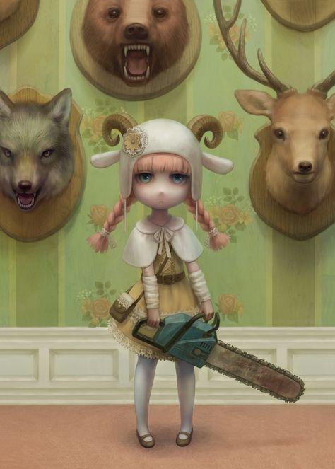 Beautiful Digital Art by Daiyou-Uonome - Mark Ryden, Illustrations Pop, Illustration Art, Fashion Illustrations, Creepy Art, Weird Art, Arte Lowbrow, Arte Grunge, Audrey Kawasaki