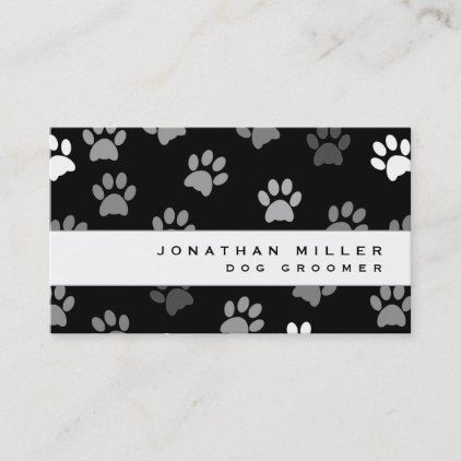 Black White Gray Paw Prints Business Card Zazzle Com Printing Business Cards Paw Print Prints