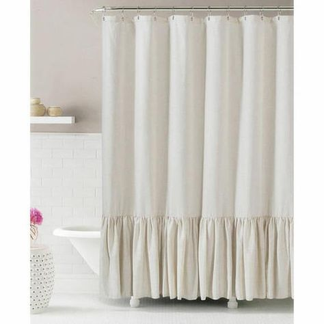 Linen Shower Curtain With Mermaid Long Ruffles Make Your Bathroom