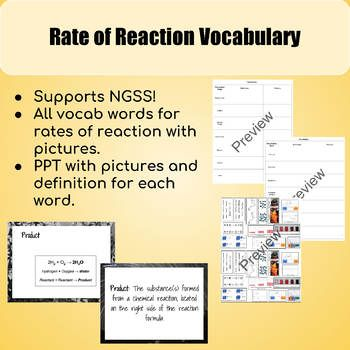 Reaction Rate Vocabulary Vocabulary Chemistry Lessons