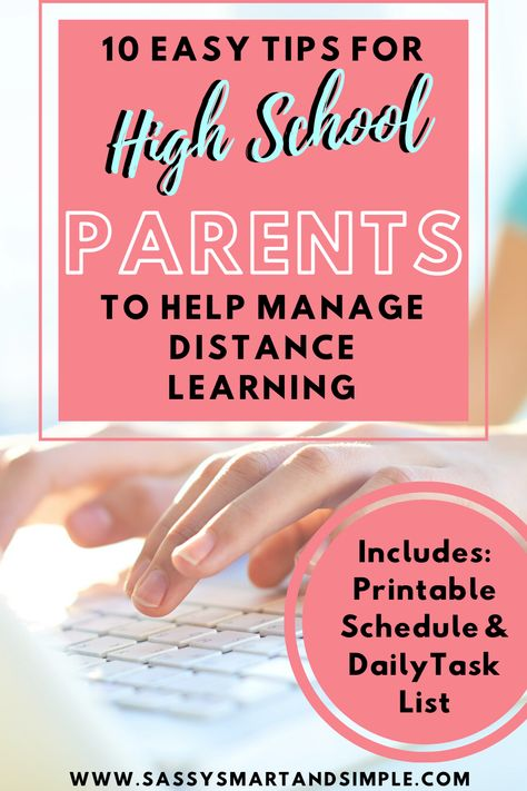 Distance Learning Tips for Parents of High School Students Tips to Help your High Schooler be Successful] – Sassy Smart & Simple Virtual High School, Online High School, High School Years, High School Schedule, School Plan, School Sets, High School Counseling, School Counselor, School Teacher