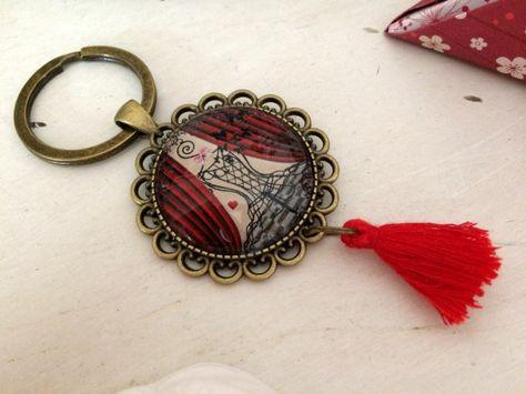 Roses Fleur Coeur Type Porte-clés Sac à main Charme Anneau Cristaux Keychain
