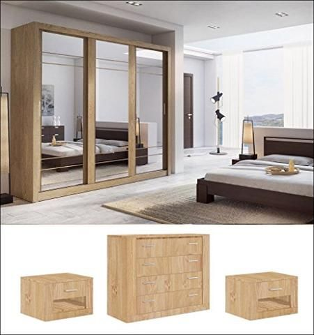 Modern Bedroom Set Arti 2 3 Sliding Door Wardrobe 250cm In Oak Shetland Sold By Arthauss Bedroom Set Bedroom Sets Modern Bedroom Set