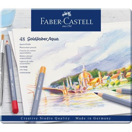 Watercolour Pencil Goldfaber Aqua Tin Of 48 Faber Castell