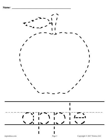 picture regarding Free Printable Apple Worksheets named 10 Printable Slide Tracing Handwriting Worksheets