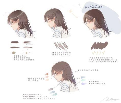 髪の毛の塗り方 ハイライトと影を種類別に解説 お絵かき図鑑 アニメデッサンチュートリアル コンセプトアートのチュートリアル 髪型のスケッチ