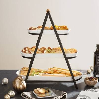 3 Tier Oblong Ceramic Server In White Tiered Serving Platters Kitchen Dishes Serving Tray Wood