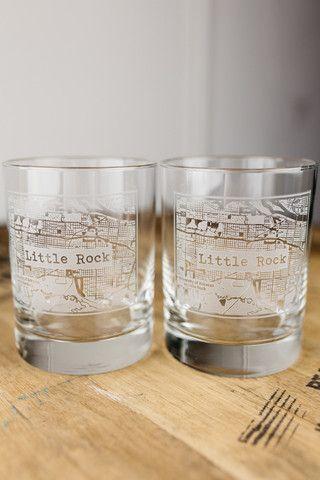 Little Rock College Town Rocks Glass Set