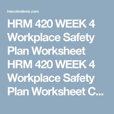 HRM 420 WEEK 1 Risk Management Issues HRM 420 WEEK 1 Risk Management