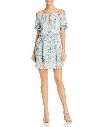 Hemant and Nandita Off the Shoulder Floral Print Dress Sky