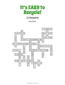 Recycling Crossword Puzzle Worksheet Activity Crossword Puzzle Crossword Earth Day Worksheets