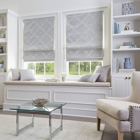Shop for Damask Room Darkening Roman Shade. Get free delivery On EVERYTHING* Overstock - Your Online Home Decor Outlet Store! Get in rewards with Club O! Cordless Roman Shades, Silver Room, Shades Blinds, Outlet Store, Window Design, My Living Room, Home Decor Outlet, Window Coverings, Small Window Treatments