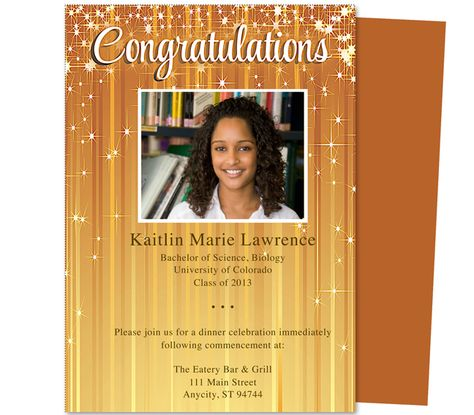 Brilliance Graduation Announcement and Invitation Template. Star adorned background available in gold (shown), blue, green, or pink