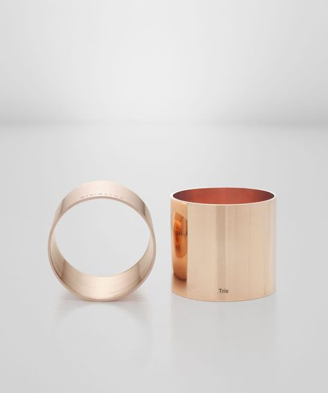 Trio is 3 products in 1, an eggcup, napkin ring or tea light holder. It's a seamless ring of solid copper, hand polished to a mirror finish inside and out.