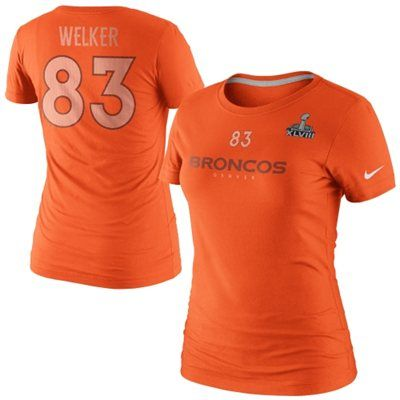 Show off your love for your favorite player with this Wes Welker NFL apparel Super Bowl XLVIII Name & Number tee from Nike. It features high-quality graphics to let everyone know that the Broncos are your team!  http://www.avantlink.com/click.php?tt=app&ti=1019&mi=11081&pw=145431&url=http%3A%2F%2Fwww.fanatics.com%2FNFL_Denver_Broncos%2FNike_Wes_Welker_Denver_Broncos_Super_Bowl_XLVIII_Ladies_Name_And_Number_T-Shirt_-_Orange