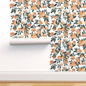 Dear Clementine Oranges On White Spoonflower Self Adhesive Wallpaper Removable Wallpaper Spoonflower Wallpaper