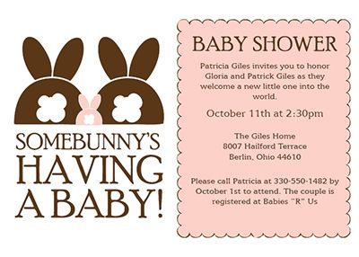 Customizable baby shower invitation template - Baby Bunny's Coming!