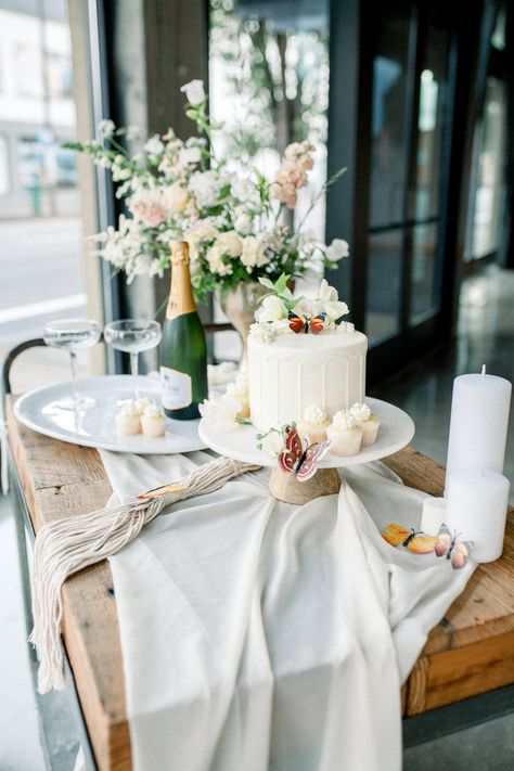 From the editorial An Empowering Editorial at Easton Broad Inspired by Butterflies. You don't want to miss the uplifting words on how these creatives are elegantly embracing positive and necessary change in the wedding industry, so head to SMP to read more and to browse through the full gallery (you'll be swooning over the cake table!) 💫 Styling  Photography: @rtfaithphotography #weddingcake #desserttable #weddingdessert #cakeinspiration #weddingdessertideas