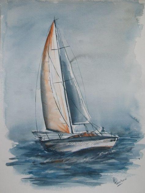 Aquarelle Originale Representant Un Voilier En Mer Peintures Par