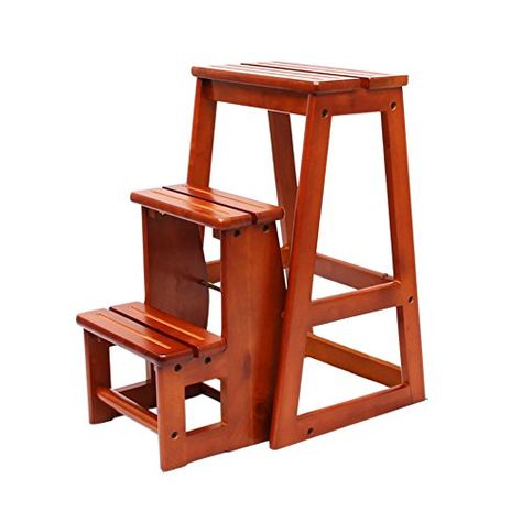 Ladder Chair Solid Wood 2 3 Steps Stool Folding Step Portable Seat Versatile Home Kitchen Bathroom Office Furniture Size Tier