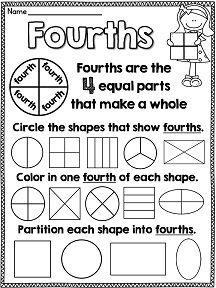 math worksheet : 16 best fractions images on pinterest  math fractions teaching  : First Grade Fractions Worksheet