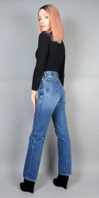 Vintage 70s WRANGLER Rare Dark Wash Embroidered Horse W Slim Straight High Waist Rise Denim Jeans  Western Workwear  27  28 Medium