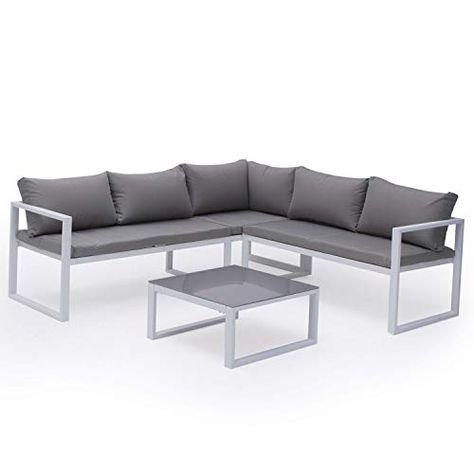 Salon De Jardin Modulable Ibiza En Tissu Gris 4 Places Aluminum Blanc Avec Images Salon De Jardin Canape Angle Canape 2 Places