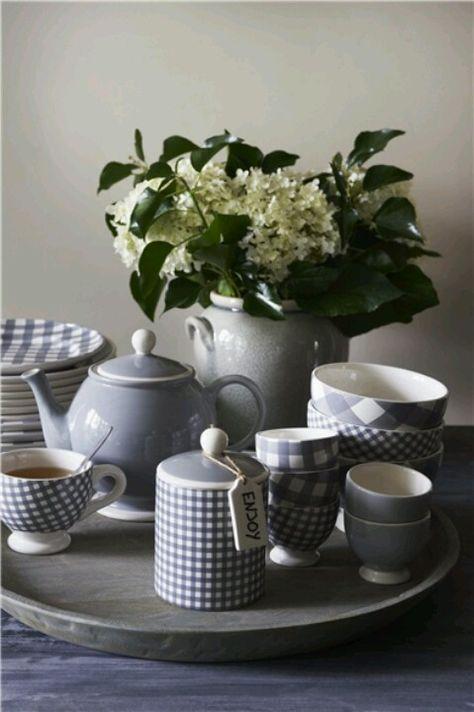 Grey gingham tea things.