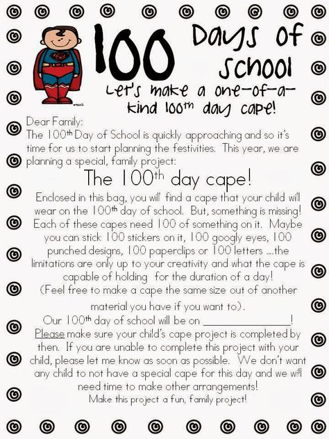 100th Day of School Super Hero Cape Project Freebie
