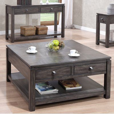 Three Posts Woodville Drawer Coffee Table 3 Piece Coffee Table