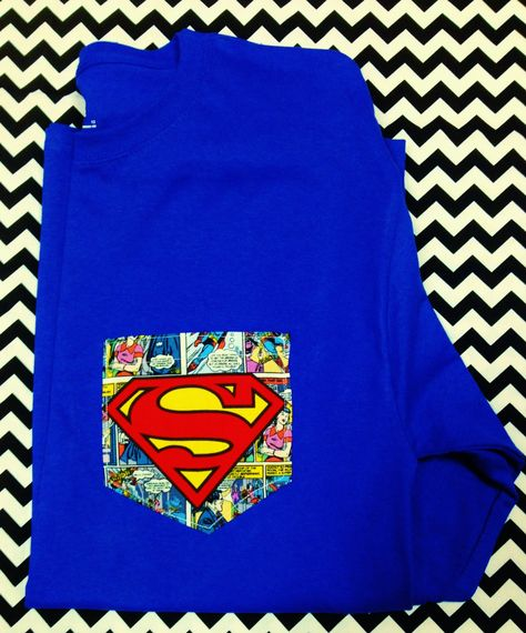 Superman Pocket Tee Shirt for Ladies or Men by